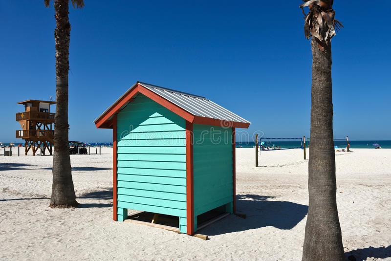 Colorful Beach Bath House. A colorful beach bath house on the sandy public beach area royalty free stock photos