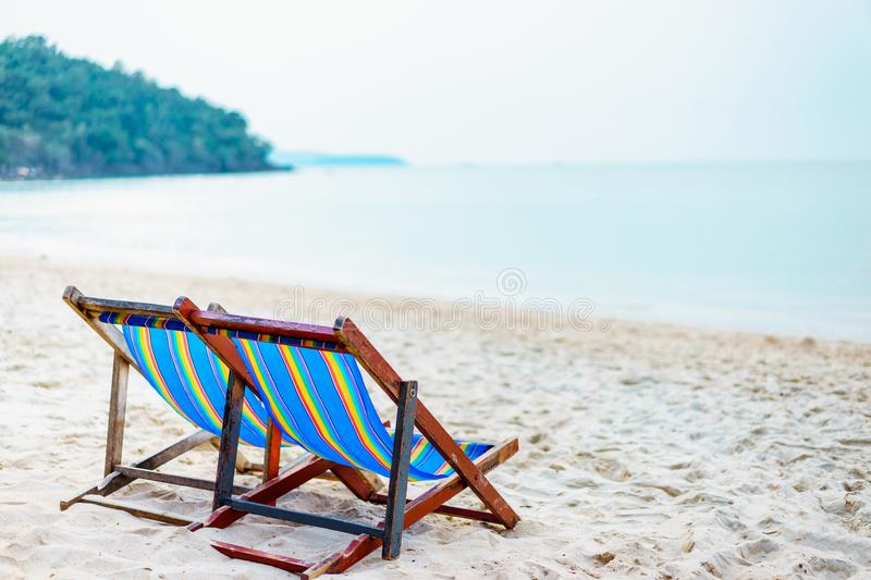 Colorful beach chair on the beach with beautiful Blue sky on sunny day, Relaxing in beach chairs. Colorful beach chair on the beach with beautiful Blue sky on stock photography
