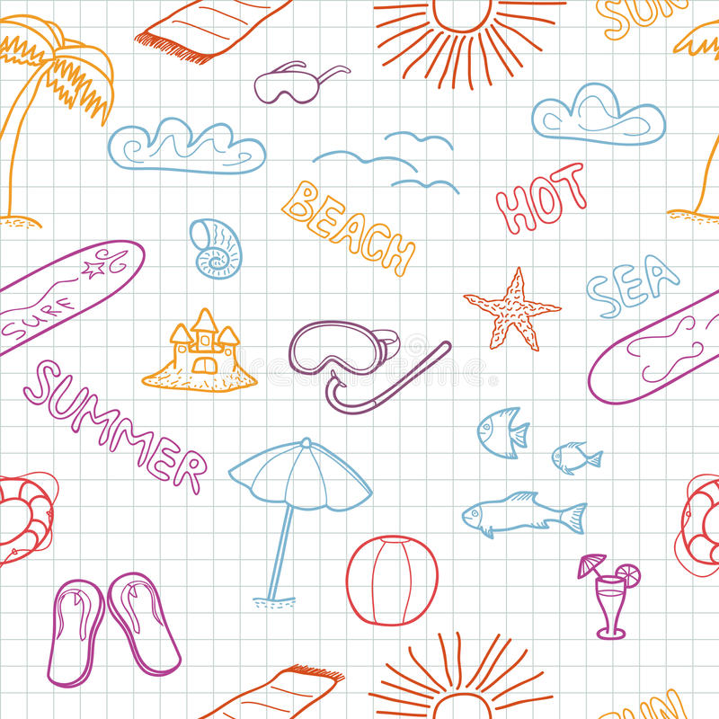 Download Colorful Beach Doodles Stock Image - Image: 25616051