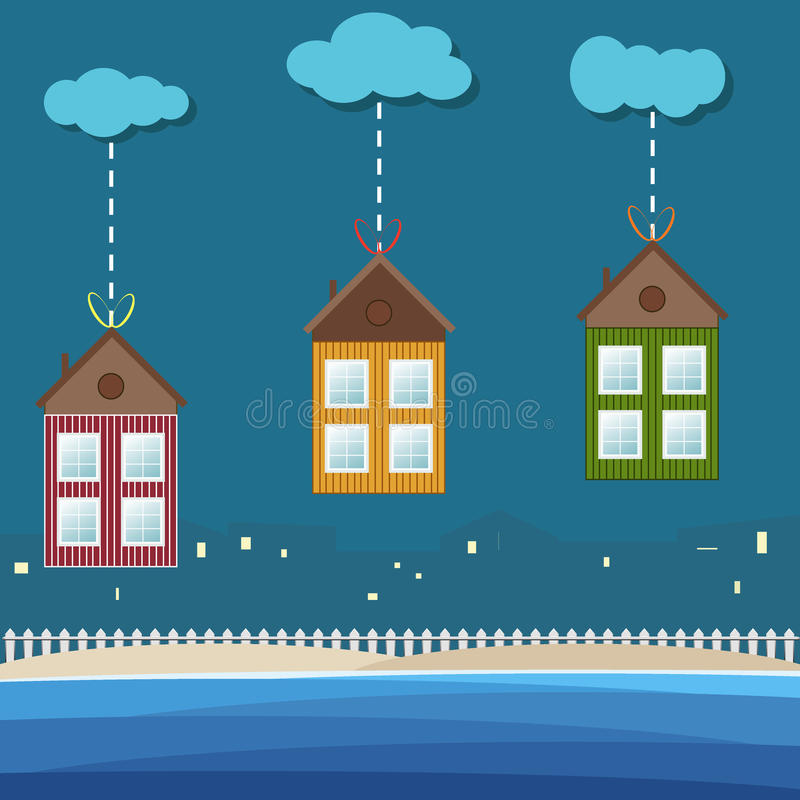 Colorful Beach Houses For Rent / Sale. Real Estate Concept stock illustration
