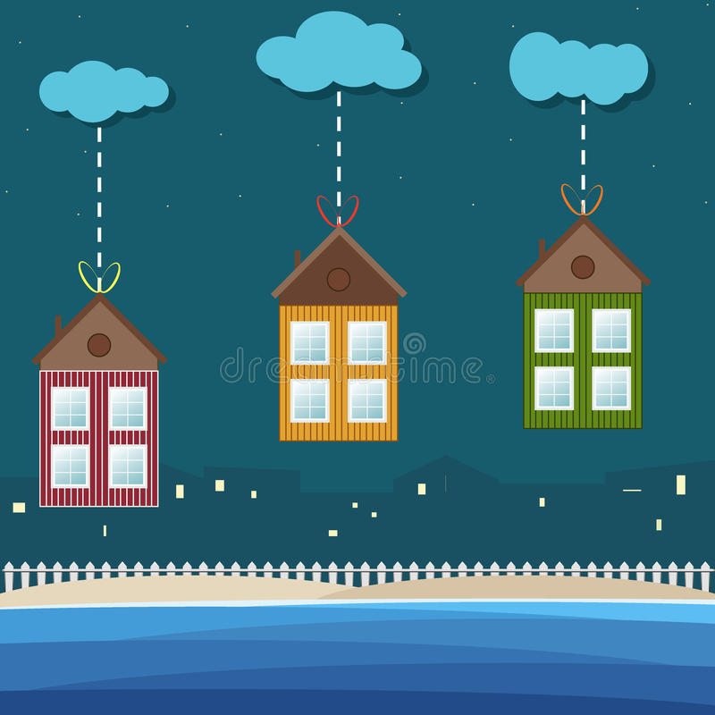 Colorful Beach Houses For Sale / Rent. Real Estate vector illustration