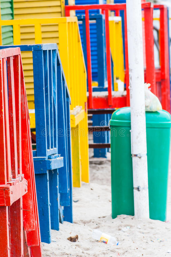 Colorful beach huts at St. James Bay near Simons Town Western Ca royalty free stock photos
