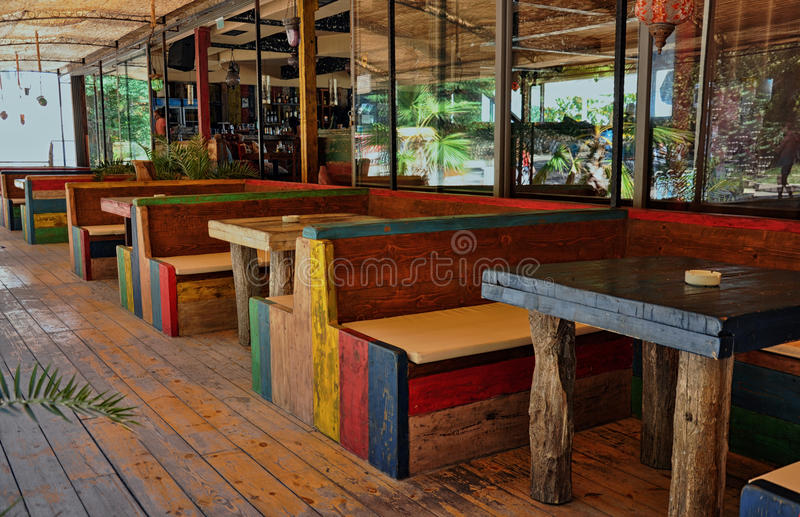 Colorful beach restaurant royalty free stock image