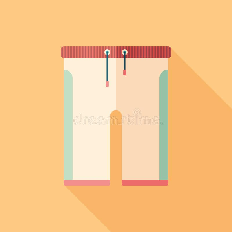 Colorful beach shorts flat square icon with long shadows. royalty free illustration