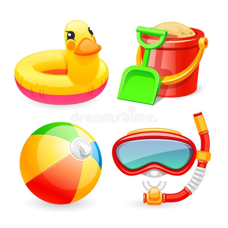 Free Colorful Beach Toys Icons Set Royalty Free Stock Photos - 55372058