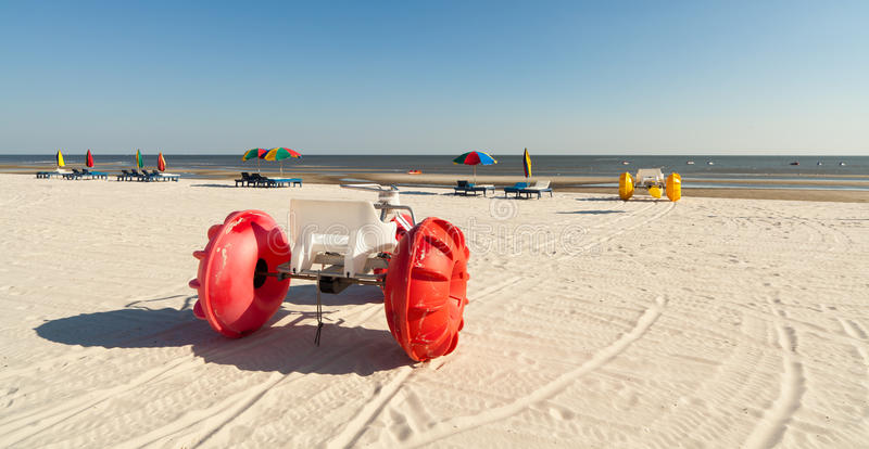 Colorful Beach Water Tricycles stock image