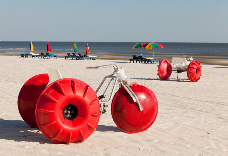 Colorful Beach Water Tricycles royalty free stock photo