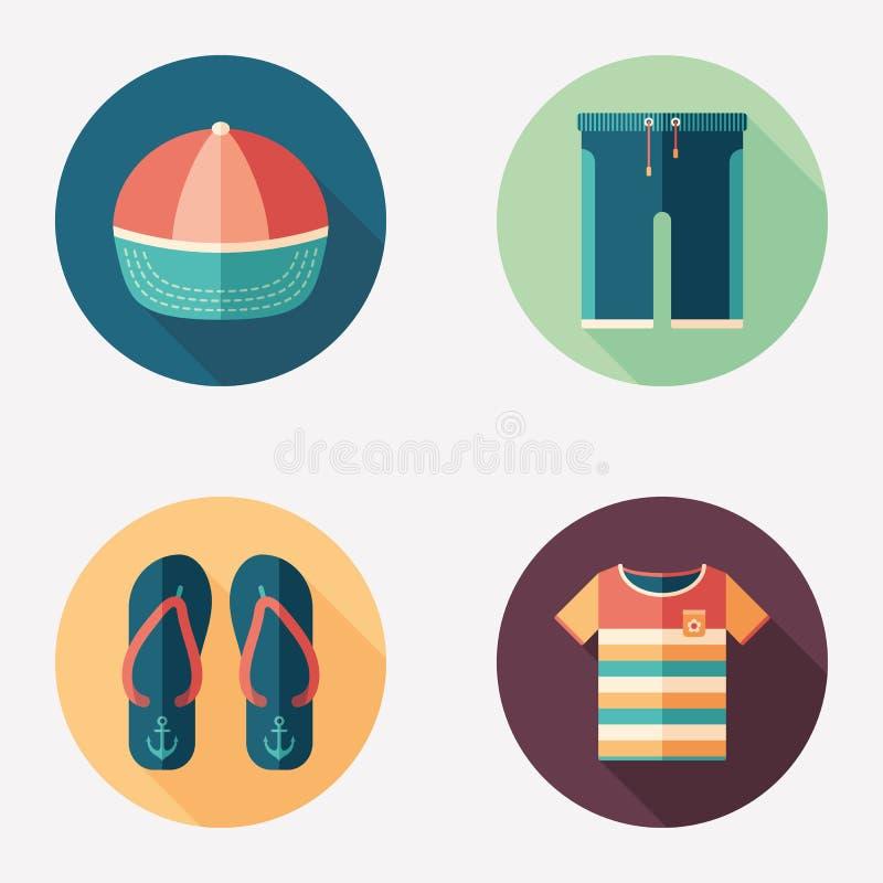 Colorful beachwear flat round icon set. vector illustration