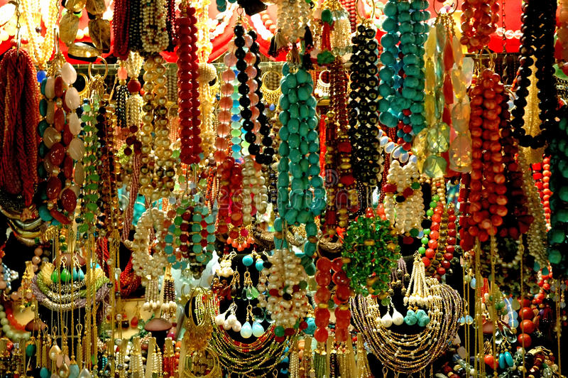 Colorful bead in the bazaar stock photo