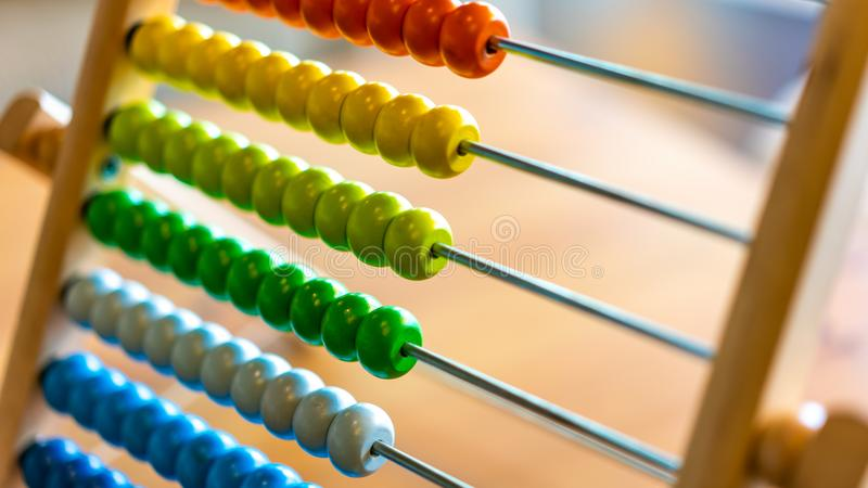 Colorful Beads Abacus Counting Maths stock image