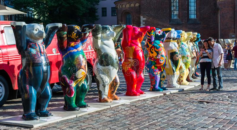 Colorful bears at United Buddy Bears international art exhibition. Riga, Latvia - July 15, 2018: Colorful bears at United Buddy Bears international art stock photos