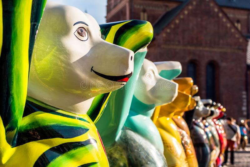 Colorful bears at United Buddy Bears international art exhibition. Riga, Latvia - July 15, 2018: Colorful bears at United Buddy Bears international art stock photography