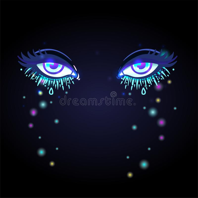 Colorful beautiful eyes with shiny glitters and face gems glowing in the dark. Bright vector illustration isolated on black. royalty free illustration