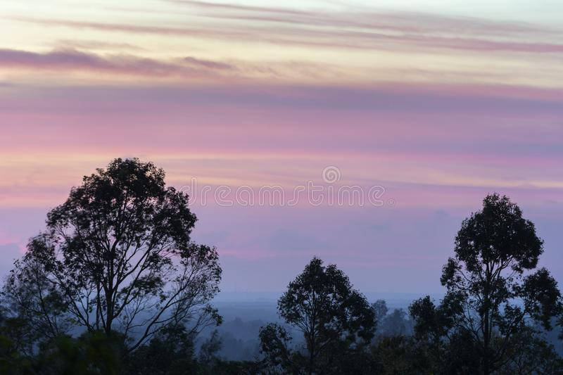 Colorful beautiful purple stripes of clouds on sky before the sunrise in the hazy early morning time royalty free stock photos