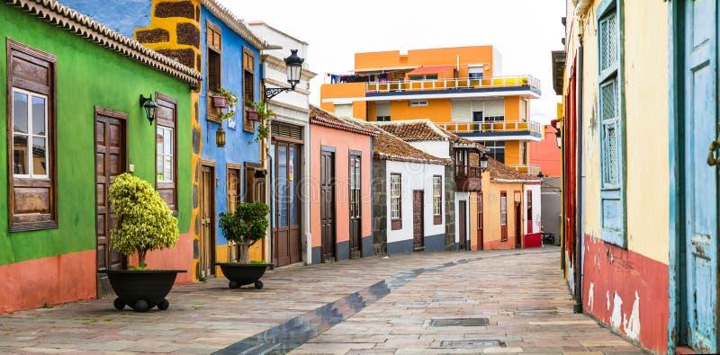 Colorful beautiful streets of Los llanos de Aridane village,Spain. stock photo