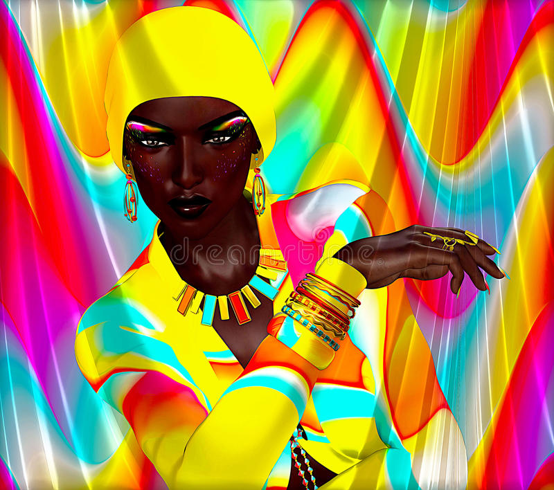 Colorful beauty and fashion digital art scene with African model posing against a bright abstract background. Makeup,clothing and accessories all matching stock illustration