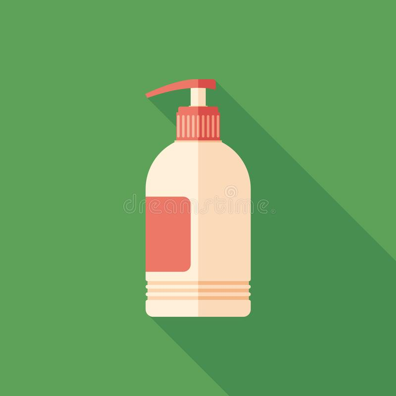 Liquid soap flat square icon with long shadows. stock illustration