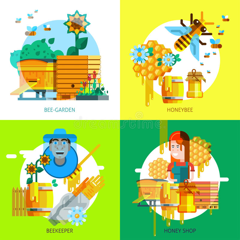 Colorful Beekeeping Concept vector illustration