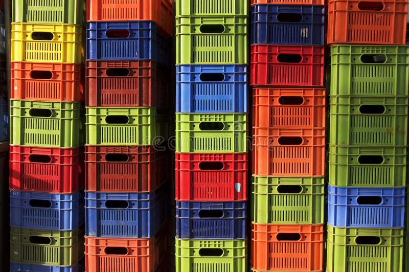 Colorful beer crates. Stacked beer crates in bright colors royalty free stock photo