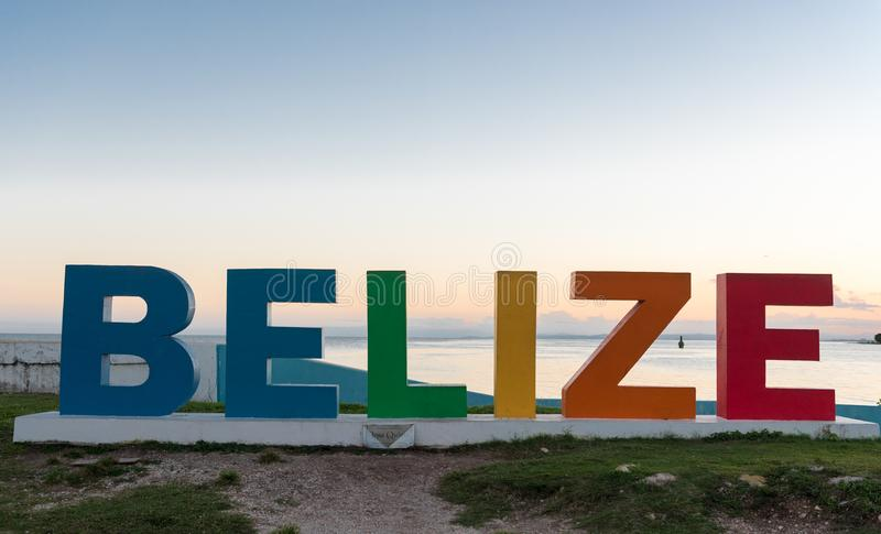 Colorful Belize Name in Front of Caribbean Sea royalty free stock image