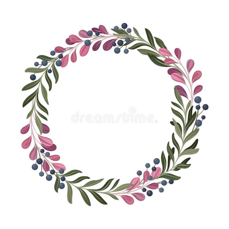 Colorful Berry Ornamental Vector Border. Graphic Composition of Decorative Bilberry. Seasonal Plant Decor stock illustration