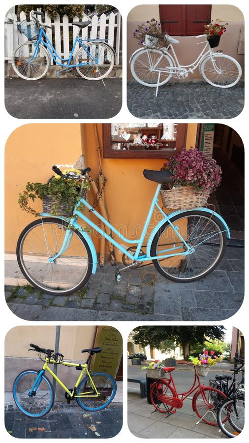 Colorful bicycle collage 5 images 9:16 format. 916. Bicycles and flower pots stock images
