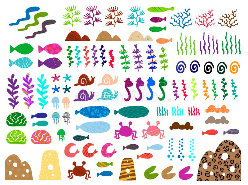 Colorful big hand drawn set of sea and ocean creatures objects plants. Vector textured minimalism. Whale fish snail shrimp sand stock photos