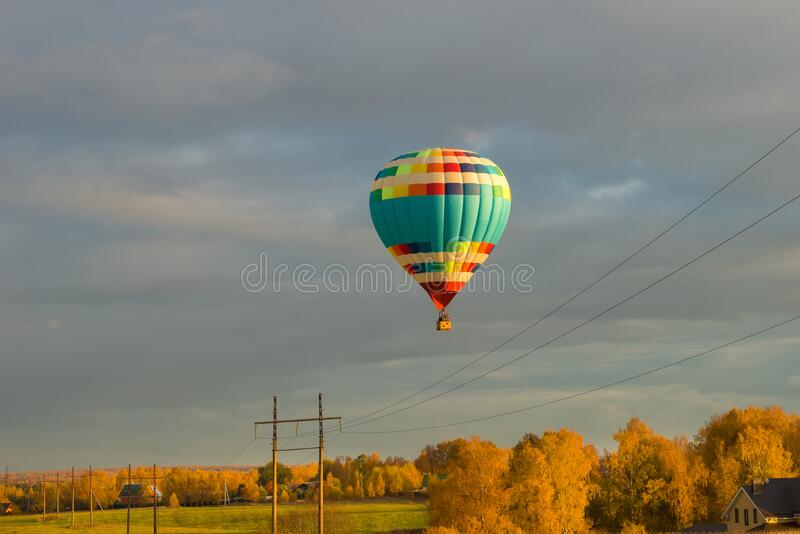 Aeronautics over the autumn forest royalty free stock image