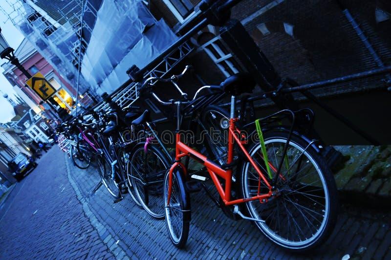 Bikes, Colorful, Blue Sundown Light, Urban Dutch Scene royalty free stock image