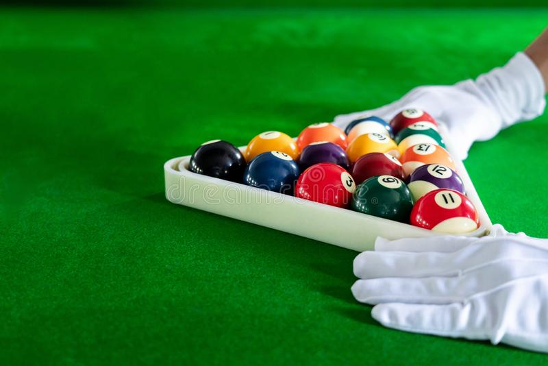 Colorful Billiard and snooker ball pool game at blue table, Relaxation sport and Happiness Concept.  stock illustration