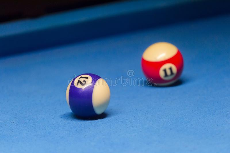 Colorful billiards balls. Billiard ball at blue table. Colorful American pool snooker balls background. American Billiard in bar. royalty free stock photo
