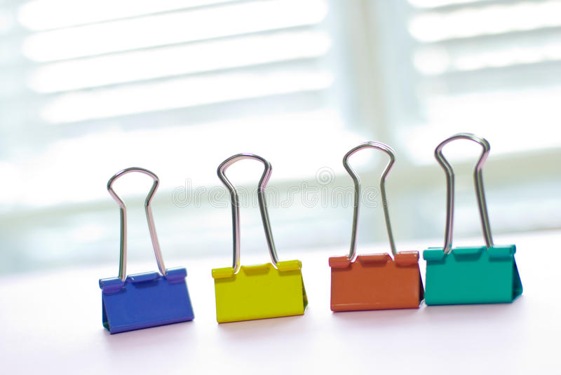 Colorful binder clip stock image