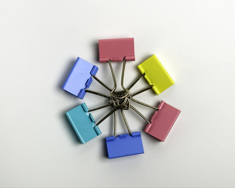 Colorful binder clips royalty free stock image