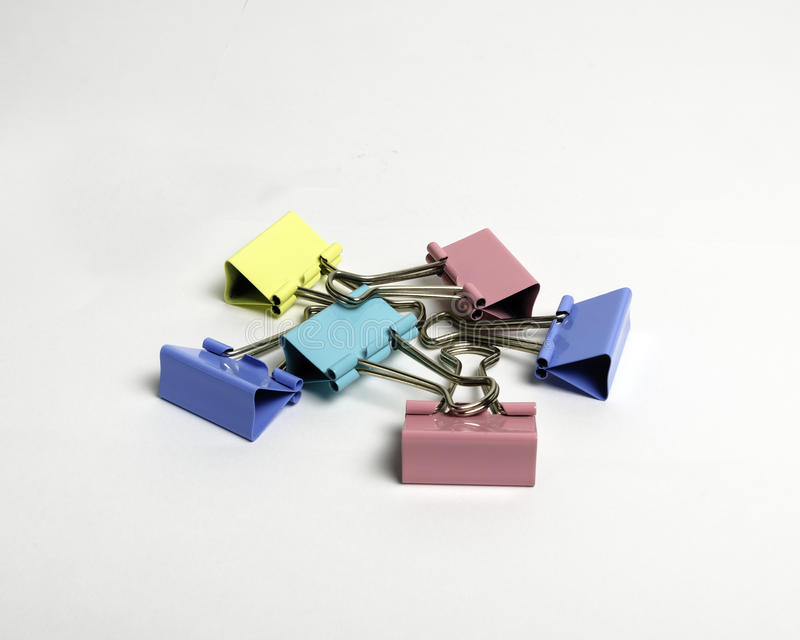 Colorful binder clips stock images