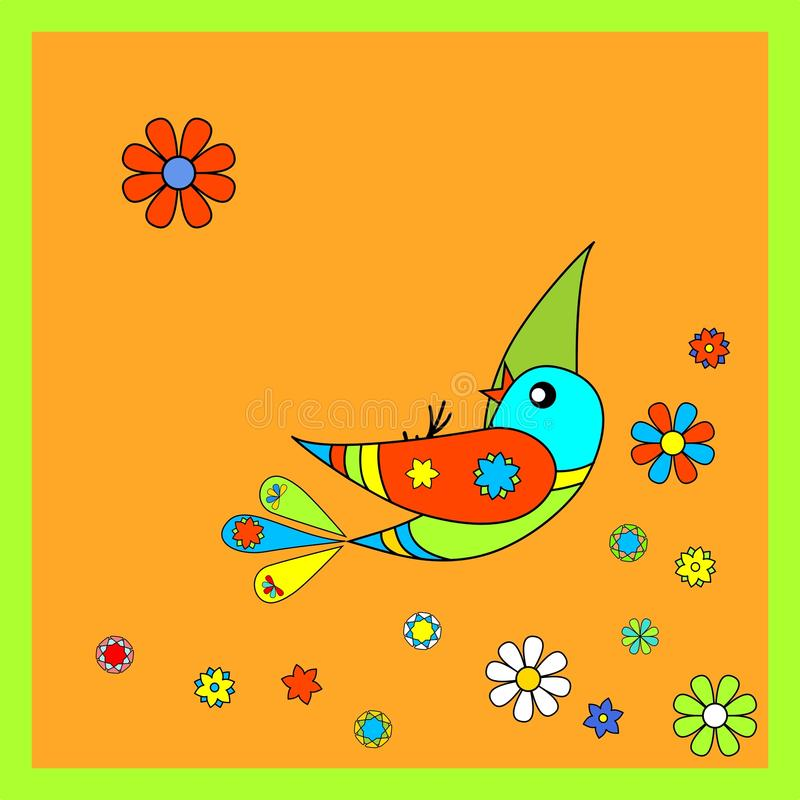 Download Colorful bird stock vector. Illustration of floral, happy - 19779590