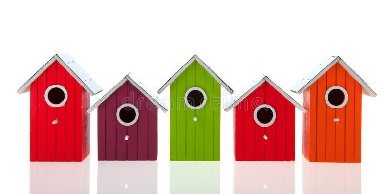 Colorful bird houses royalty free stock photos