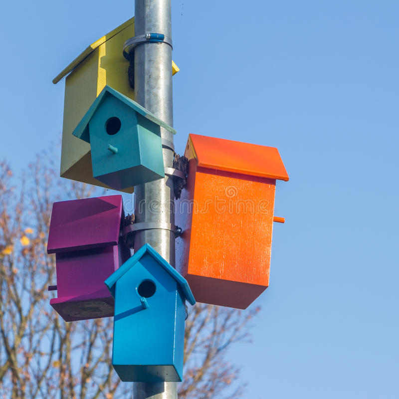 Colorful bird houses stock images