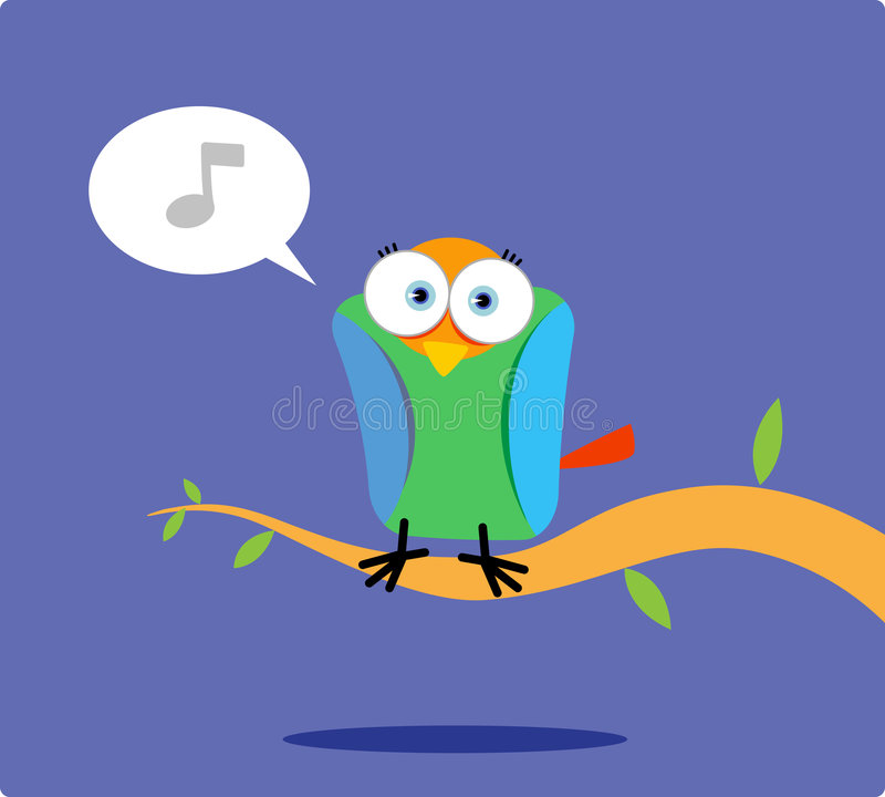 Colorful bird singing on the tree vector illustration