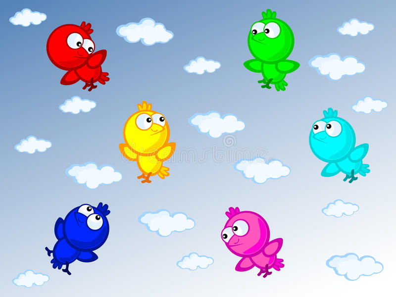 Download Colorful birds stock vector. Image of friendship, clouds - 22100368