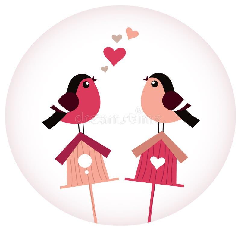 Cute Birds in love sitting on Birdhouses royalty free illustration