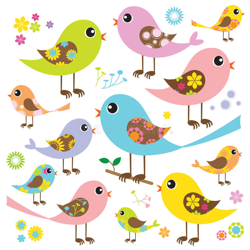 Colorful Birds with Floral Pattern stock illustration