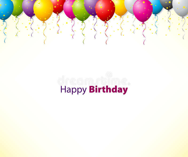 Colorful birthday background with balloons vector illustration