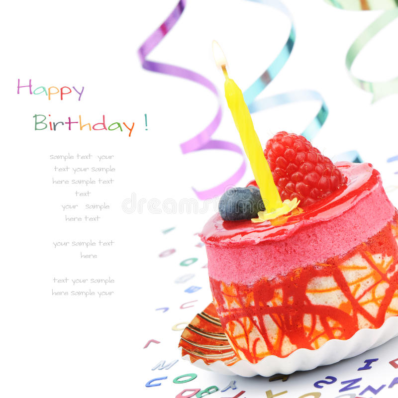 Colorful birthday cake. Isolated over white stock photography