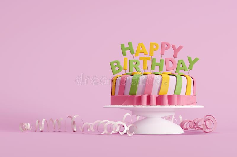 Colorful birthday cake on pink background royalty free stock images