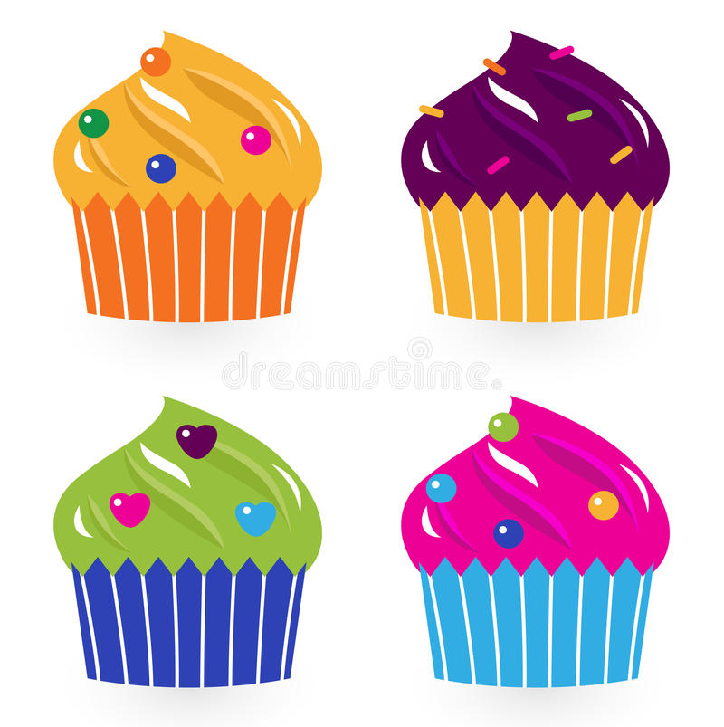 Download Colorful Birthday Cakes Set Isolated On White Stock Vector - Illustration: 25071391