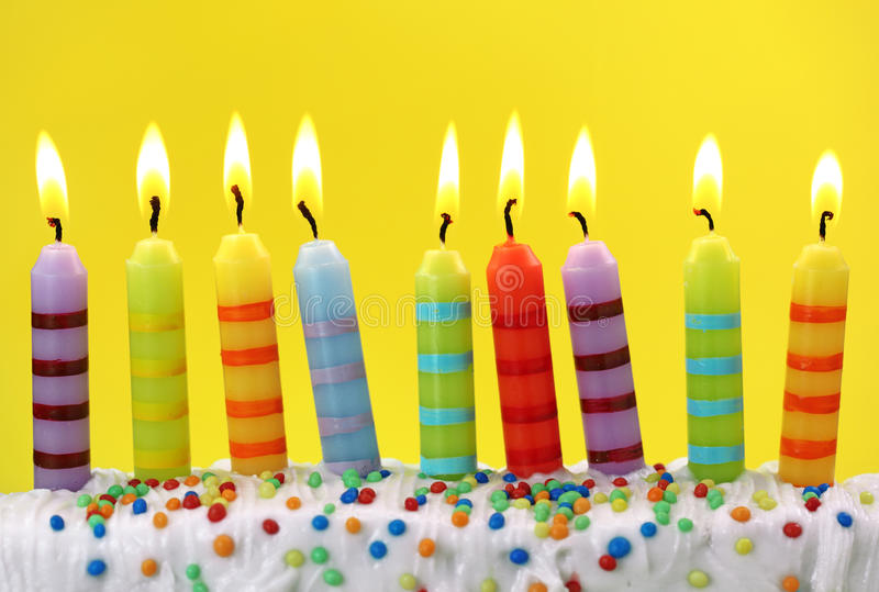 Colorful birthday candles stock image