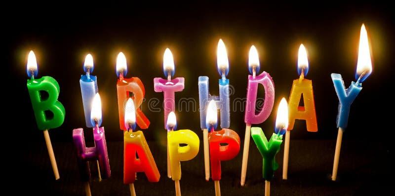 Birthday Cake candles lit. Birthday Cake Candles spelling happy birthday. Birth day wishes stock image