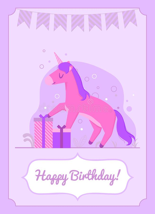 Colorful birthday card happy unicorn standing on the gift stock illustration