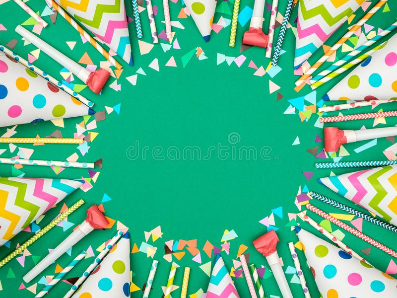 Colorful birthday or carnival frame with party items royalty free stock image