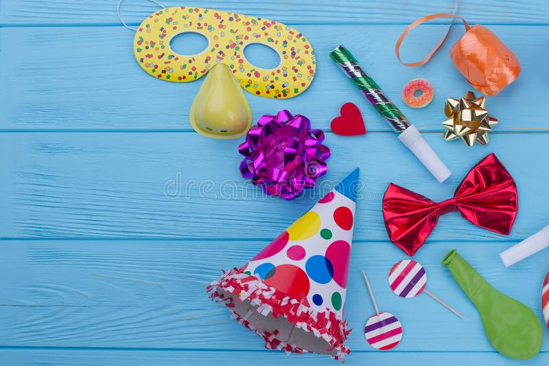 Colorful Birthday decorations on wooden background. royalty free stock image